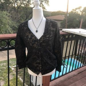 3/$20 The Territory Ahead Black Lace Blouse M